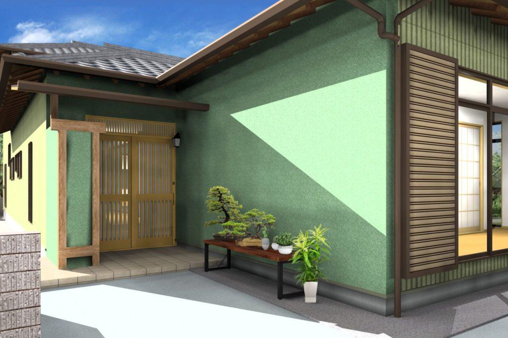外壁リフォーム 塗装カラー提案イメージパース 掻き落とし グリーン