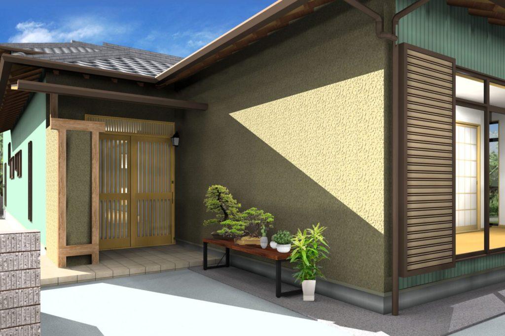 外壁リフォーム 塗装カラー提案イメージパース 掻き落とし 茶 板金グリーン