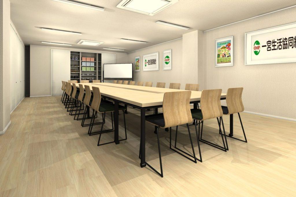 会議室テーブル天板カラー 薄い木目カラー①