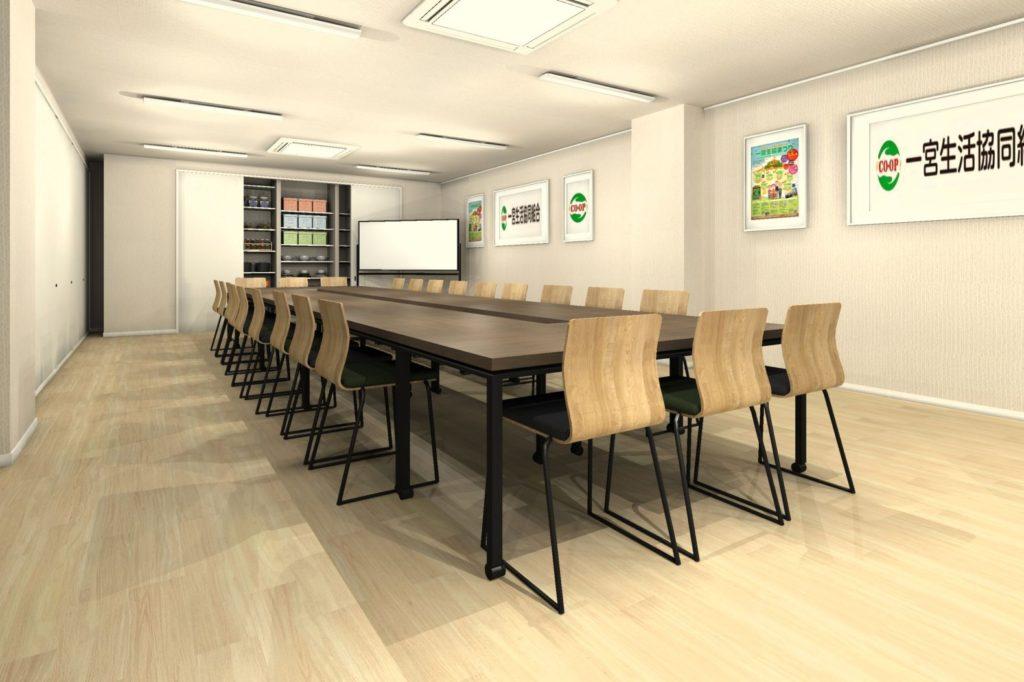 会議室テーブル天板カラー 濃い木目カラー①
