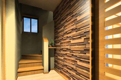 和住宅リフォーム 廊下アクセント壁 デザイン提案 寄木②