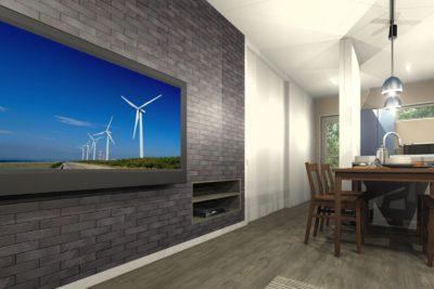 新築住宅 LDKトータルコーディネート 造作テレビボード埋め込みデッキ収納