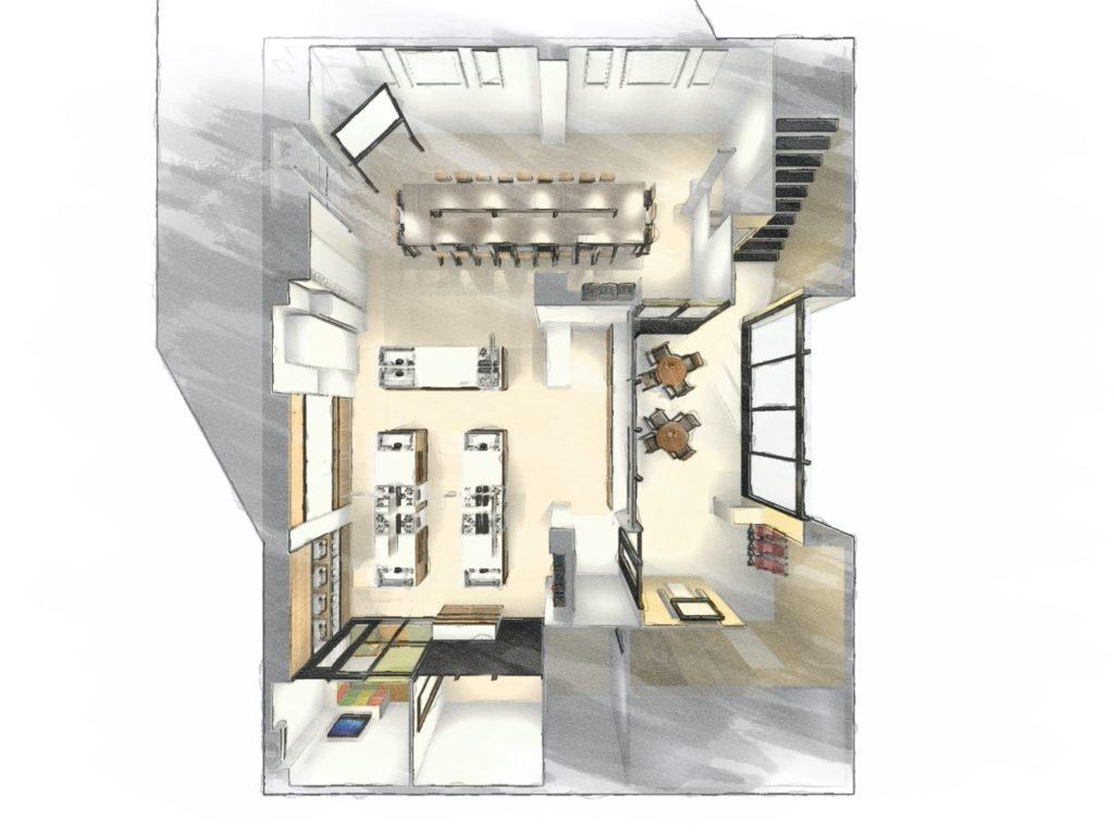 事務所を料理教室と会議室にリフォーム 俯瞰図 スケッチタッチ