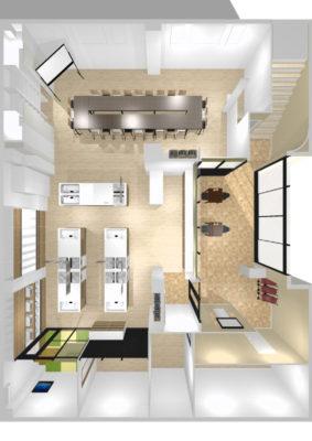 事務所を料理教室と会議室にリフォーム 俯瞰図