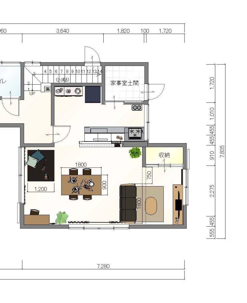 リフォームLDK家具レイアウト提案④