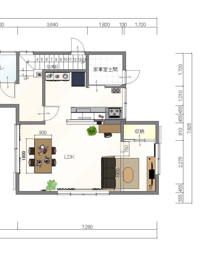 リフォームLDK家具レイアウト提案②