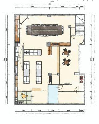 事務所を料理教室と会議室にリフォーム 平面図 スケッチタッチ