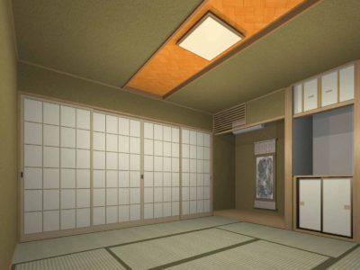 和室天井デザインイメージパース プラン1