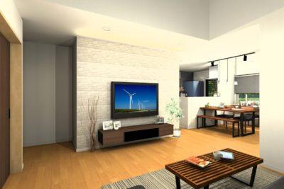 H様邸提案リビング壁面造り付けテレビボードイメージパース②