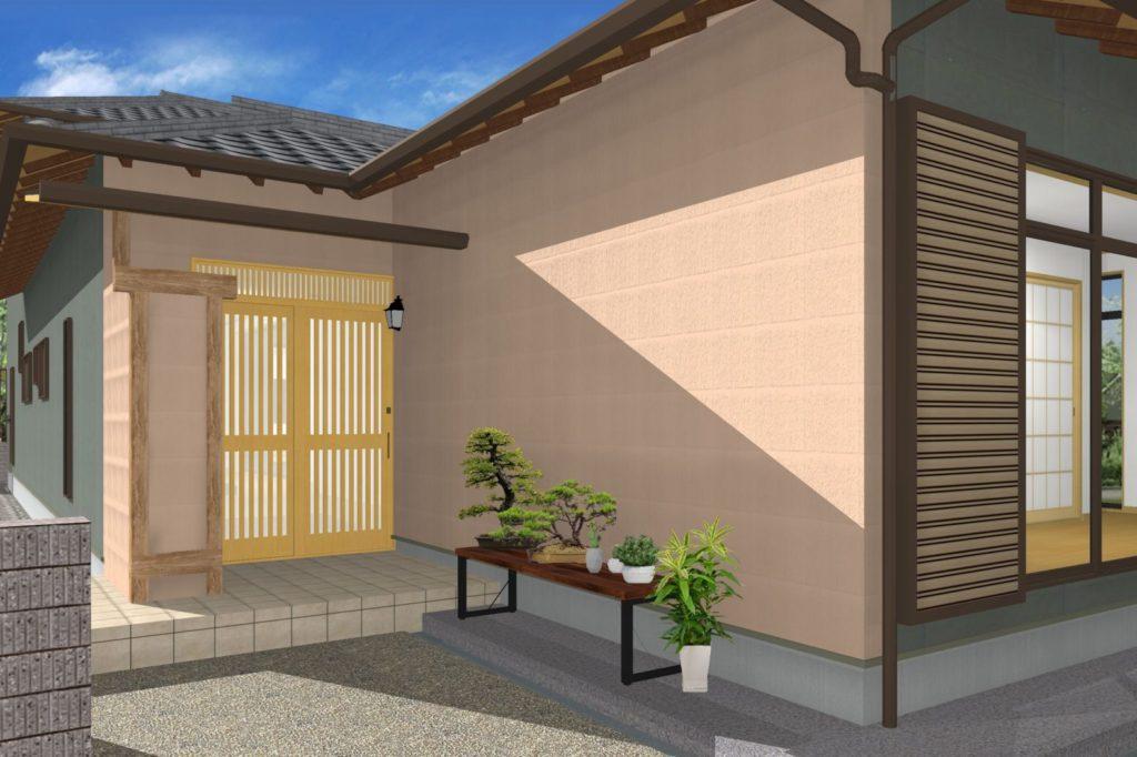 外壁リフォーム 塗装カラー提案イメージパース 掻き落とし グレー紫 板金グレー