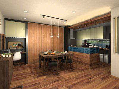 キッチン背面収納カラー提案 ペールグリーン