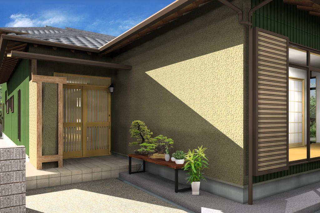 外壁リフォーム 塗装カラー提案イメージパース 掻き落とし 茶