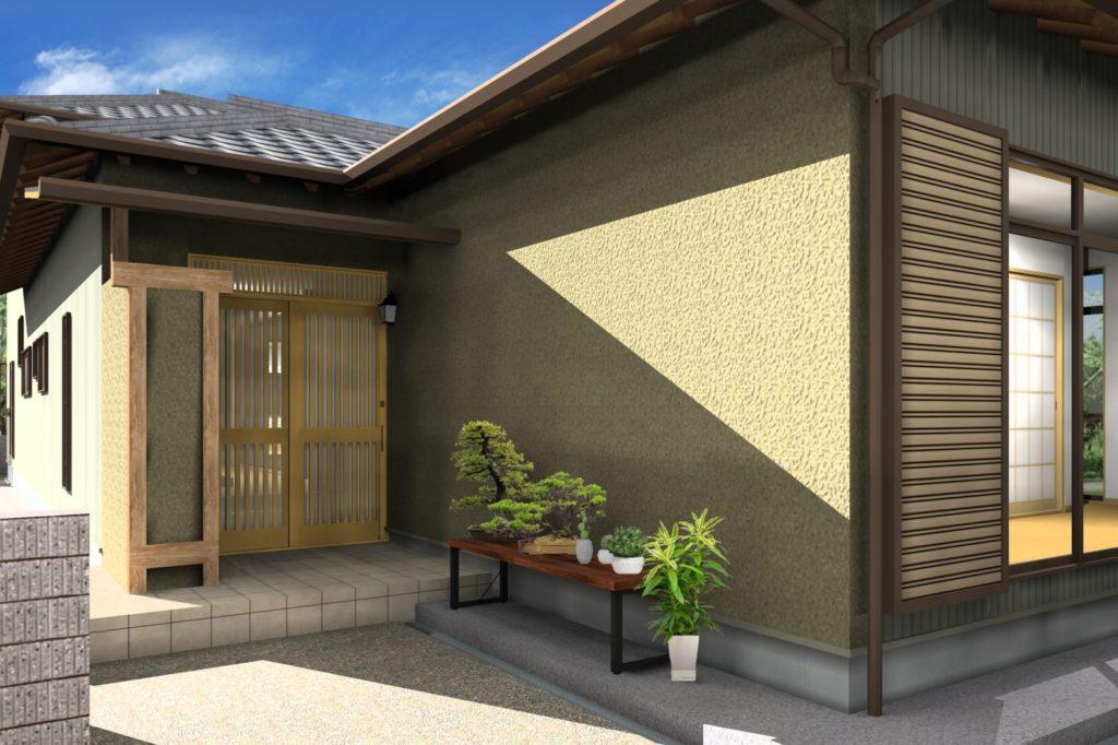 外壁リフォーム 塗装カラー提案イメージパース 掻き落とし 茶 板金グレー