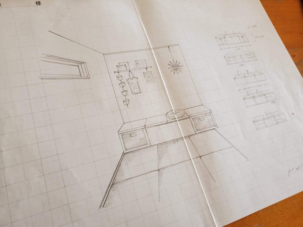 オーダー造作ベンチ ラフデザイン提案