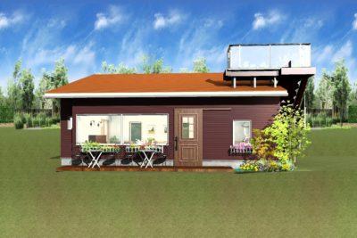 カフェ外観パース図ブラウン壁とオレンジ屋根